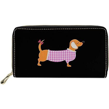 chaqlin Women Wallet Long Purse Leather Cute Dachshund Print Small Clutch Bag Card Holder Organizer Off-Black