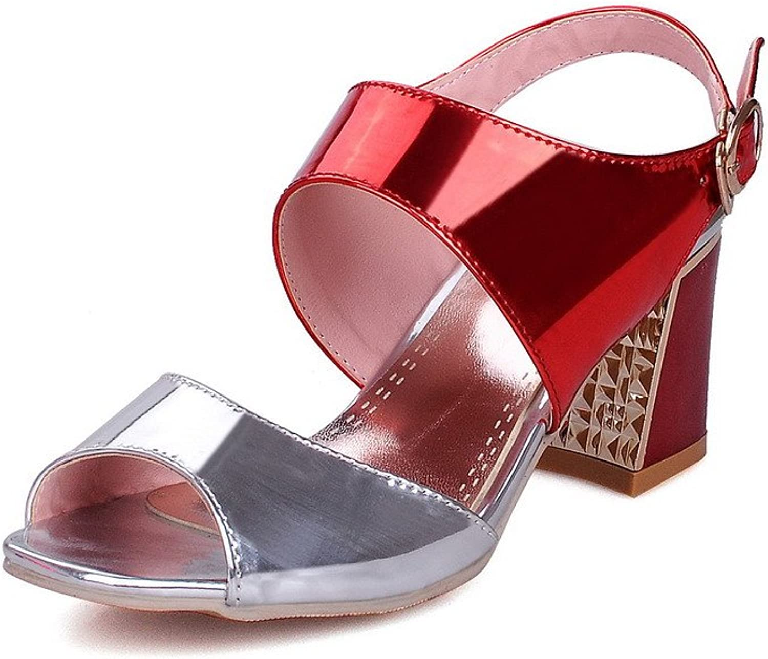 AllhqFashion Women's Kitten Heels Patent Leather Solid Buckle Open Toe Sandals