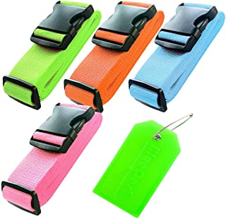 BlueCosto 4X Colorful Luggage Straps Suitcase Strap Belts + 1x Green Travel Bag Tag Label