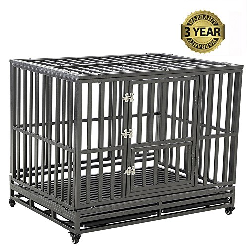 LUCKUP Heavy Duty Dog Cage Strong Metal...