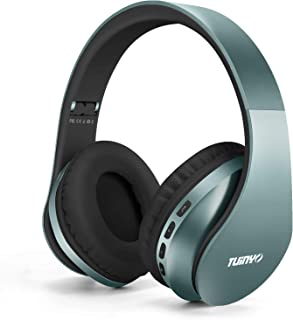 Bluetooth Headphones,Tuinyo Wireless Headphones Over Ear with Microphone, Foldable & Lightweight Stereo Wireless Headset for Travel Work TV PC Cellphone - Silver Blue