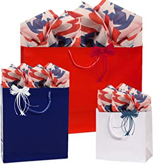 Gift Bags, Assorted Sizes, Bundled with Coordinating Tissue Paper and Raffia Ribbon (Stars and Stripes) …