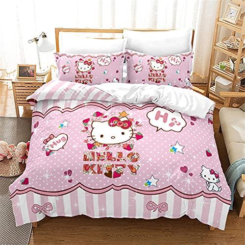 Microfibra Suave Funda Nordica 220 X 240 Cm Hello Kitty / Gato Rosa De Dibujos Animados con 2 Piezas Funda De Almohada Fundas Nordicas Cama 220 Baratas Juego De Cama 3 Piezas