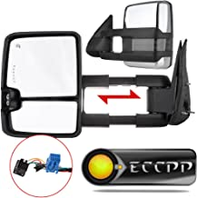 ECCPP Towing Mirror by Pair Chrome Side Mirror Replacement fit 2003-06 Chevy Silverado Suburban GMC Sierra 1500 2500 3500 Tahoe with Power Heated Turn Signal Clearance Light Telescopic Manual Folding