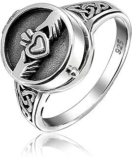 Medallon Amistad De Parejas Celta Irlandesa Anillo De Promesa Claddagh Para Hombres Y Mujeres De Plata Esterlina