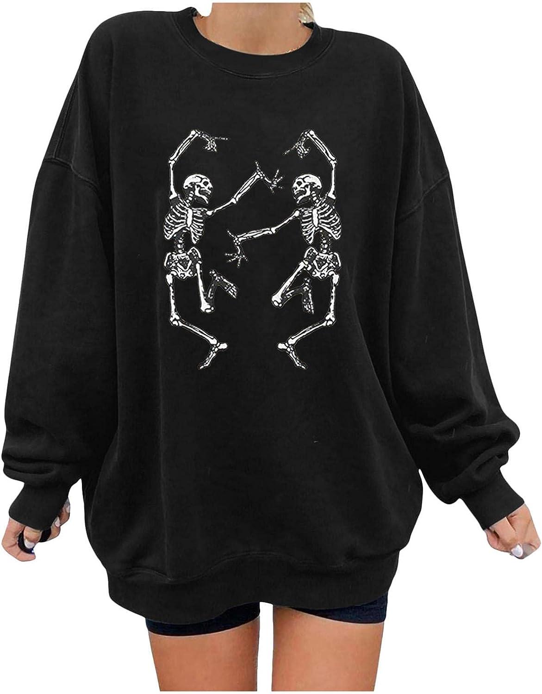 2021 Halloween Women Luxury Long Ranking TOP11 Sleeve Plus Size Skeleton Print O-Neck