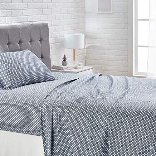 AmazonBasics Super-Soft Cotton Bed Sheet Set-Twin, Blue Geo