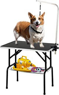 SUNCOO 36 Inch Pet Dog Grooming Table Upgraded Professional Foldable Drying Table Heavy Duty Stainless Steel Frame w/Mesh Tray Adjustable Arm and Noose, Rubber Feet Maximum Capacity Up to 250lbs
