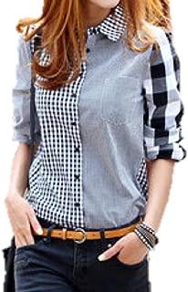 [ライオンガーデン] ギンガムチェック シャツ しっかり yシャツ 長袖 アシメントリー ブラウス M ~ 2XL レディース