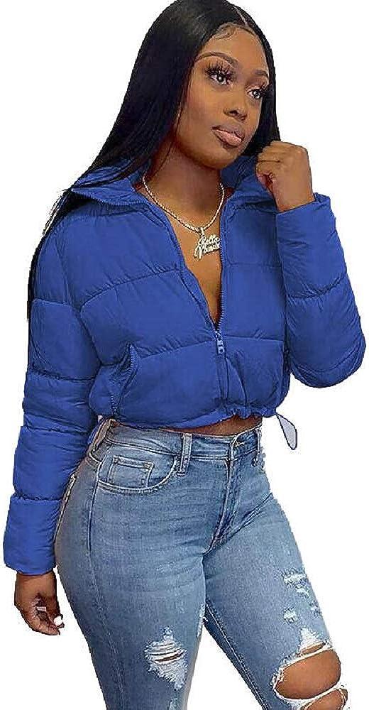 Casual short bubble coat jacket winter clothes for women (Blue, XL)