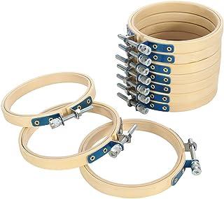 lovingmona Stickrahmen Set 10 Stück 3 inch / 8cm Embroidery Hoops Runden Bambus Stickerei Ring für DIY Kunst Handwerk Handliches Nähen