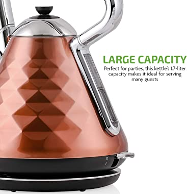 Ovente Electric Hot Water Kettle 1.7 Liter Cleo Collection Fast Heating Element & Cool Touch Handle, 1500 Watt Tea Maker
