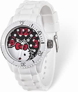 Hello Kitty Black Dial White Silicone Strap Watch 8.75