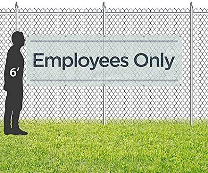 Basic Teal Wind-Resistant Outdoor Mesh Vinyl Banner CGSignLab Employees Only 12x4
