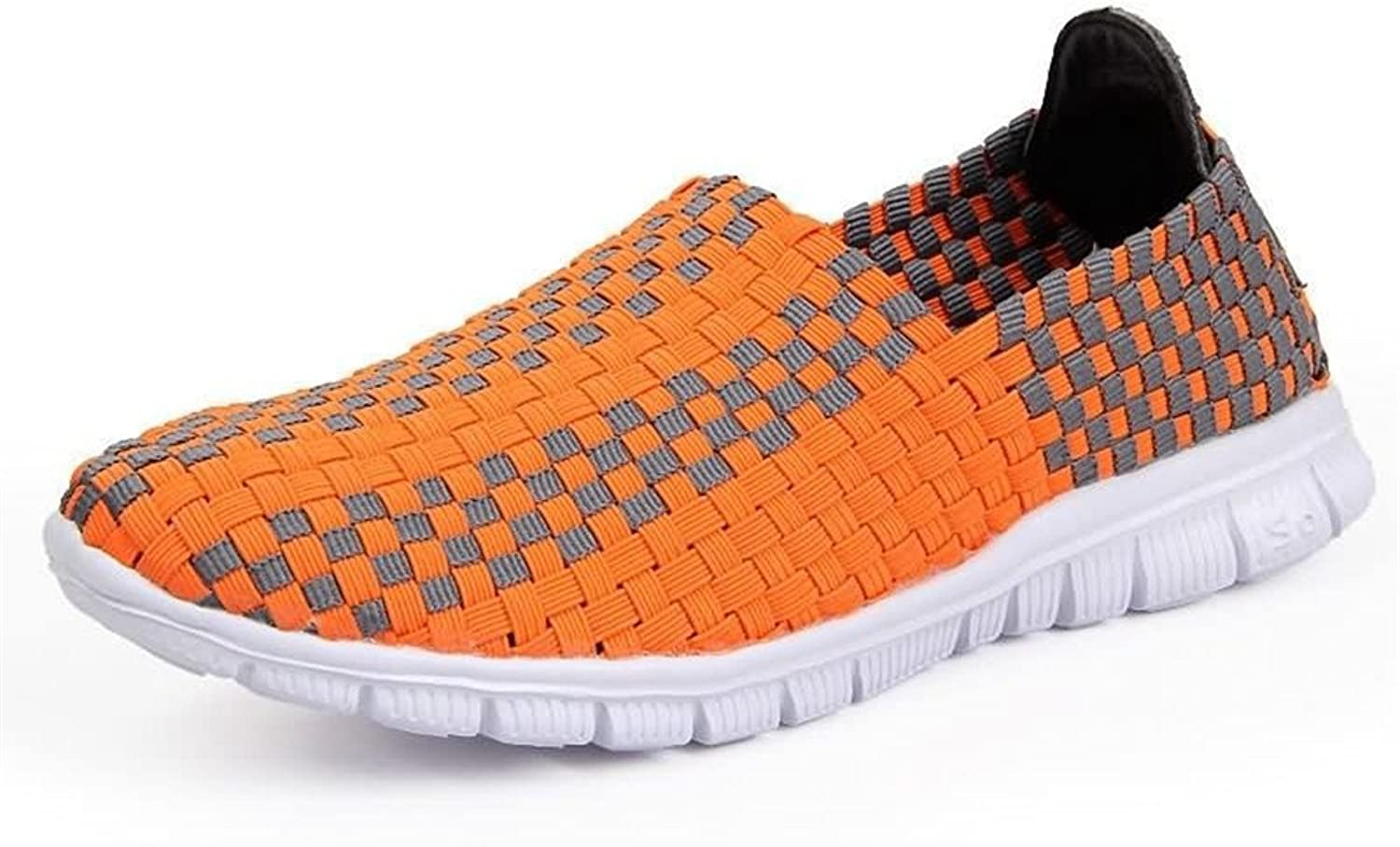 Hilotu Women's and Men's Camouflage Breathable Athletic shoes Grid Pattern Slip On Splice Vamp Leisure Fashion Sneaker Wild Breathable HandKnitted shoes (color   orange, Size   3 M US Little Kid)