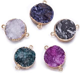 Fashewelry 5 pcs Mixed Gold Plated Natural Flat Round Druzy Agate Links Jewelry Connector for Jewelry Making Beads (Golden Tone)