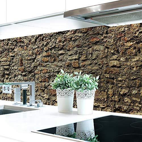 Küchenrückwand Steinmauer Premium Hart-PVC 0,4 mm selbstklebend - Direkt auf die Fliesen, Größe:Materialprobe A4