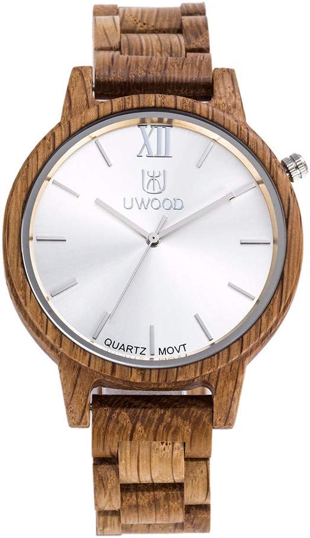 RedBrowm Uwood Oak Wood Watch Hot Fashion 45mm Men Size Oak Wood Watch