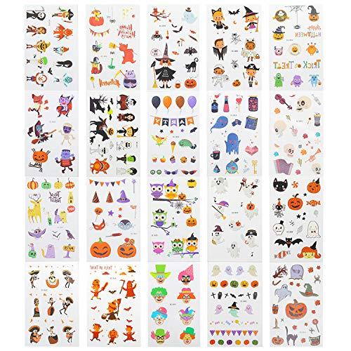 EKKONG 20pcs Halloween Tatuajes Temporales para Niños, Tatuaje Falso Pegatinas Dibujos Animados para Niñas y Niños para el Favor de la Fiesta de Halloween, Truco o Trato
