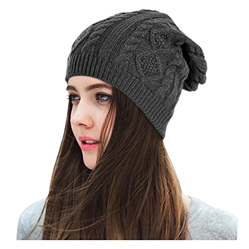 f7ee4f8306d Lamdgbway Chunky Knit Beanie Stretch Unisex Braided Cable Slouchy Winter  Hats Skip Cap