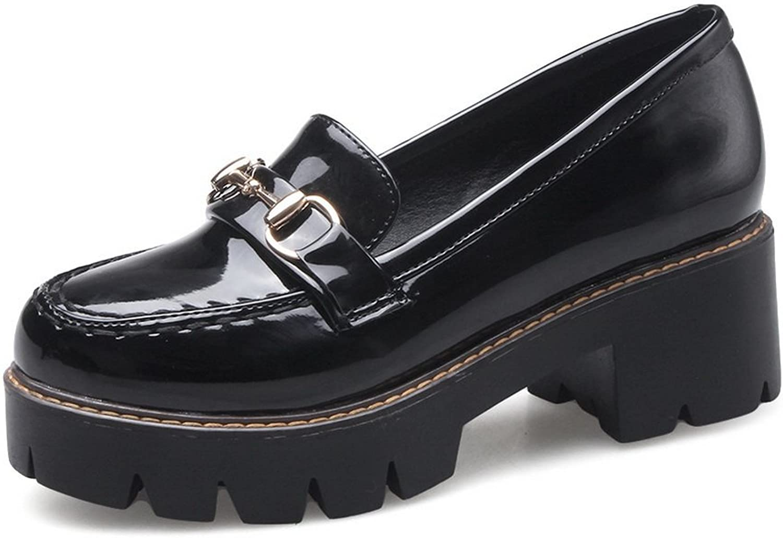 BalaMasa Womens Chunky Heels Platform Light-Weight Urethane Oxfords shoes