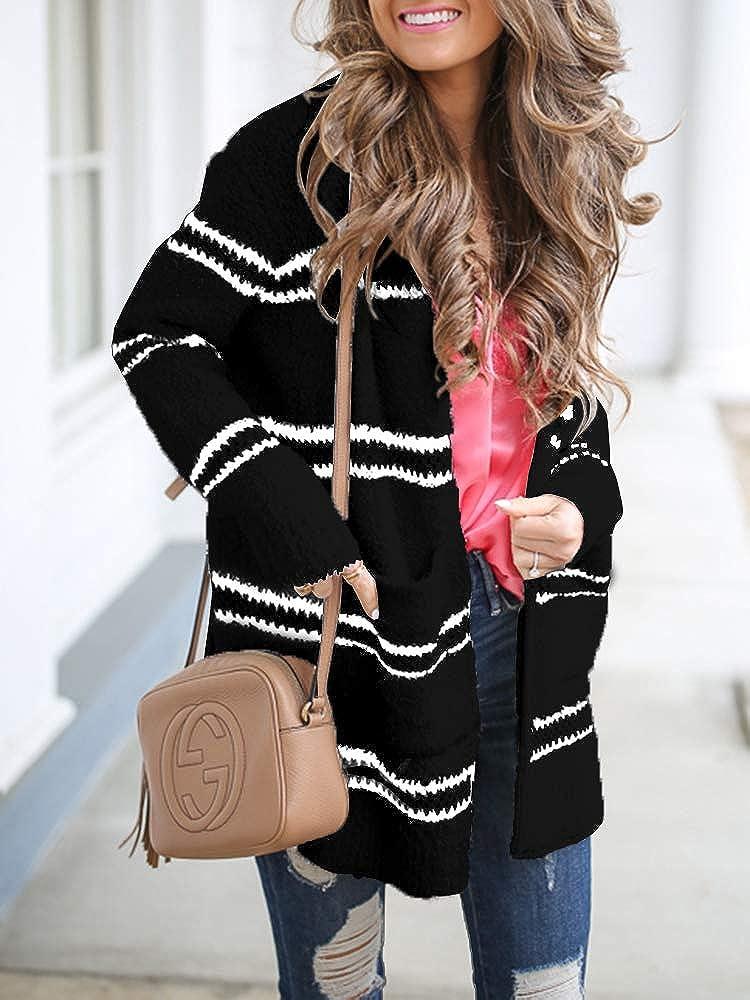 Womens Leopard Long Cardigan Fuzzy Chunky Knit Sweater Casual Pocket Tops Warm Fall Winter Coat
