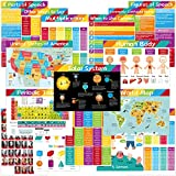 16 Educational Posters for Kids Preschool Middle School Learning Poster Classroom Decorations Home School Supply Including Solar System and Multiplication Chart