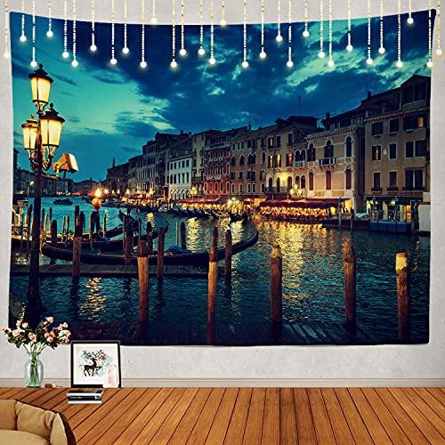 N\A Sunset Italy Tapiz Nocturno, Sunset Time Venecia Italia Noche Venezia Tapiz Grande Tapiz psicodélico Decoraciones Dormitorio Sala de Estar Dormitorio (Azul 6)