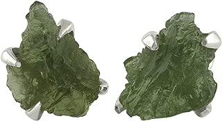 Starborn Rough Moldavite Sterling Silver Post Earrings