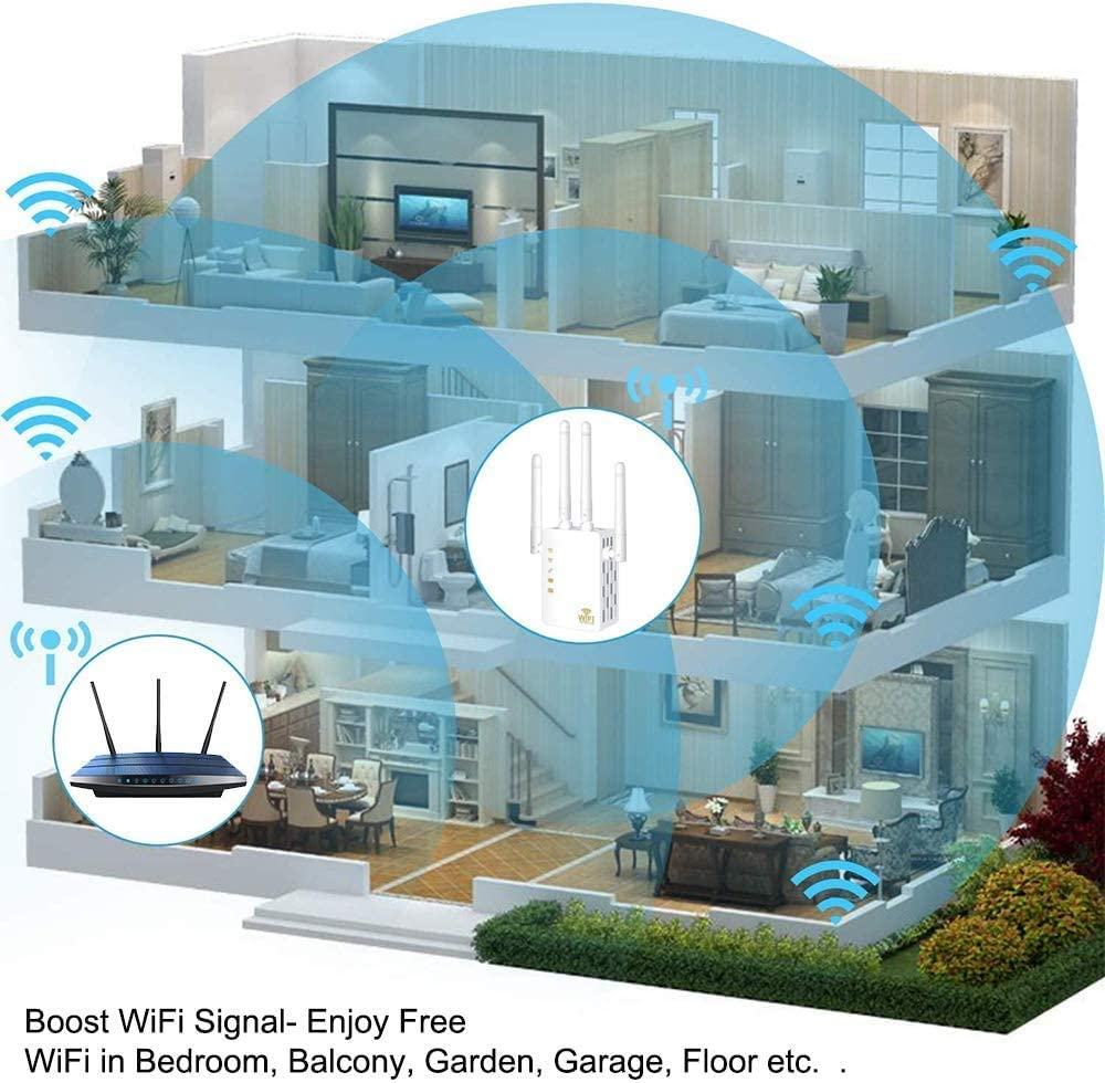 WiFi Range Extender 1200Mbps Wireless Signal Repeater Booster Dual Band 2.4G and 5G Extender 4 Antennas 360/° Full Coverage Extend WiFi Signal to Smart Home /& Alexa Devices(1200M White)