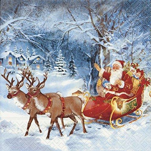 Servietten Weihnachten Winter Prägung Motiv Rentier Schlitten 20er Packung 3-lagig 33x33cm