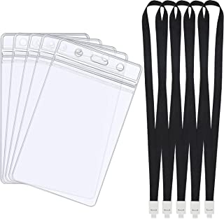 5 Set Porte Badge avec Lanière Noire, Badge Identification Vertical PVC Transparent Titulaires de Carte, pour Gens D'affai...