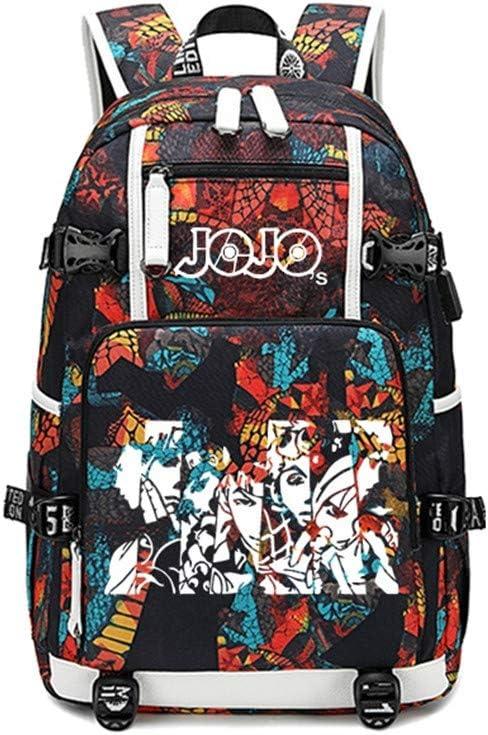 Siawasey Japanese JoJos Bizarre Adventure Cosplay Luminous Backpack Daypack Bookbag Laptop School Bag with USB Charging Port