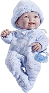 """Mini La Newborn Boutique - Realistic 9.5"""" Anatomically Correct Real Boy Baby Doll dressed in BLUE – All Vinyl Open Mouth D..."""