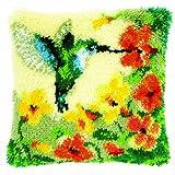 Vervaco - Cojín con Kit de Costura de Punto esmirna, diseño de colibrí y Flores