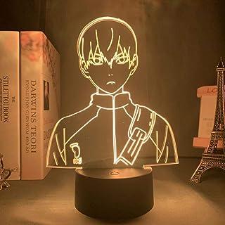 YOUPING Lámpara de ilusión 3D LED luz nocturna anime Haikyuu Hinata Shoyo Sugaw Koushi Kageyama Tobio Figura con sensor de movimiento regalo