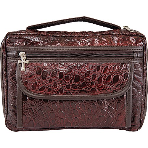 Embassy Alligator Embossed Genuine Leather Bible Cover, Protects and...