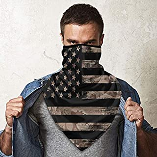 KiuLoam American USA Flag with Desert Camouflage Bandanas Face Mask Neck Gaiter Mask Headband Scarf Dust for Men Women Out...