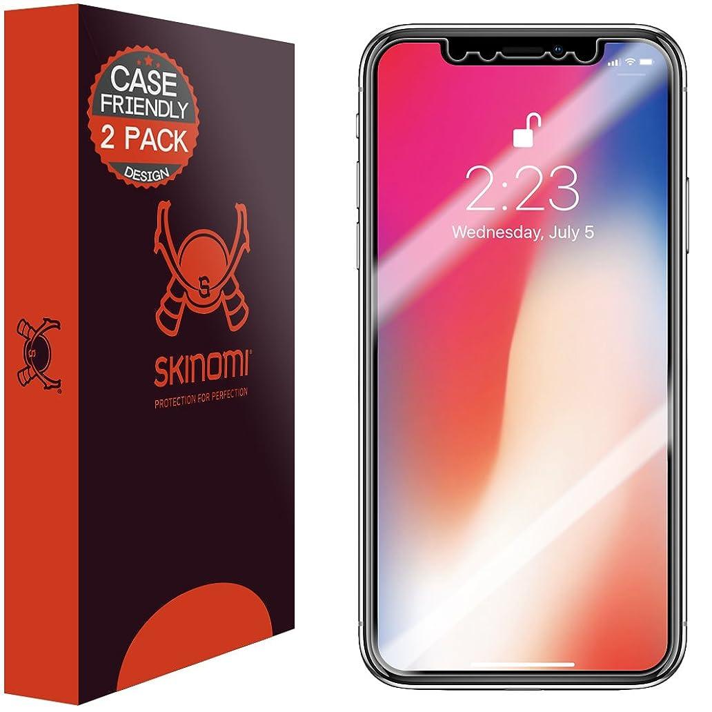 Skinomi TechSkin [2-Pack] (Case Compatible) Clear Screen Protector for Apple iPhone X Anti-Bubble HD TPU Film uqe9991149