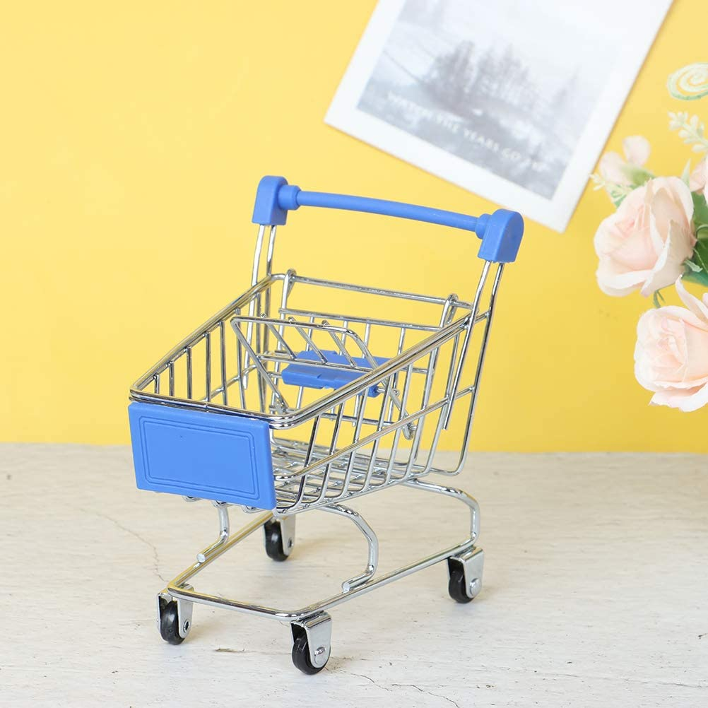 4 PCS Mini Metal Shopping Cart Supermarket Handcart Trolley Kids Toys for Office Home Novelty Decoration Creative Storage Tools