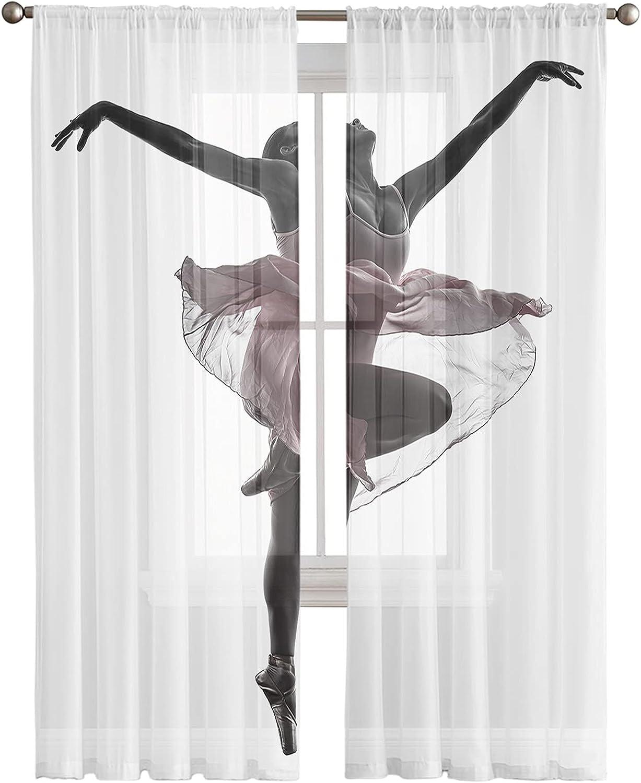 Rod Pocket Semi Sheer Curtains Elegant Ballet Dancers Light shopping Filt Challenge the lowest price