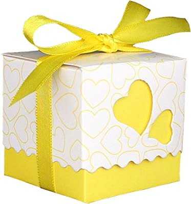 Candy Box, FenglinTech 50PCS Love Heart Pattern Favor Box for Wedding Party Baby Shower -