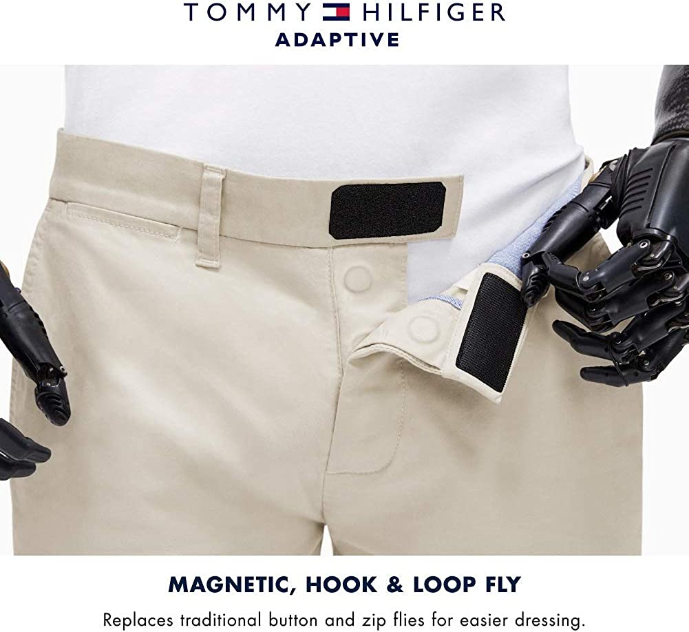 Tommy Hilfiger Men's Adaptive Tech Stretch Chino Pants with Velcro Brand Closure and Magnetic Fly