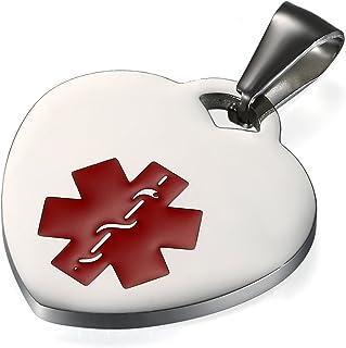 Flongo Placa Alerta Medica Cruz roja, Collar de identificación Acero Inoxidable Personalizado para alergias, Collar de corazón para Hombre Mujer, Plateado