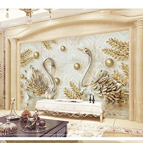 Luxus Schmuck 3D Anaglyphe Schwan Wohnzimmer TV Hintergrund Tapeten Film TV Wand Tapete Wandbild