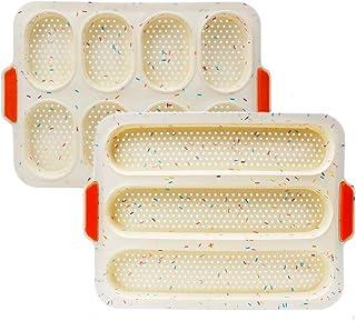 Moule à Baguette,Plaque de Cuisson Silicone 2pcs YXIAOO Antiadhésif avec Trous du fond pour Pain au Lait Brioches Mini Mou...