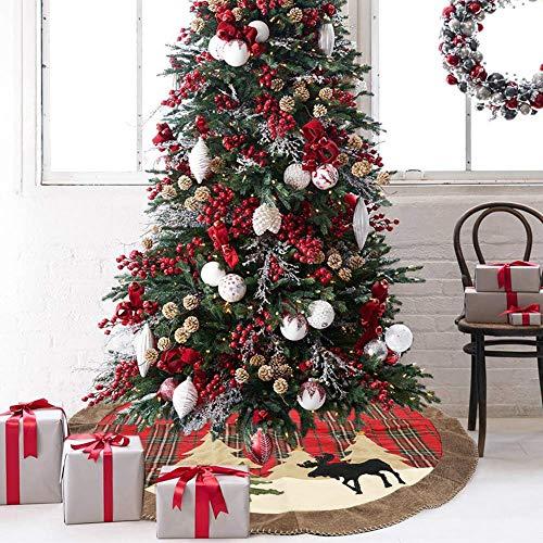 KimcHisxXv 105cm kerstboomdeken kerstdecoratie kerstboom rok geruit doek kerstboom deken kerstboom decoratie