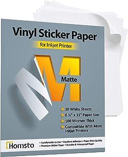 Premium Printable Vinyl Sticker Paper for Inkjet Printer - 20 Matte Waterproof Sticker Paper - White Decal Paper - Tear an...