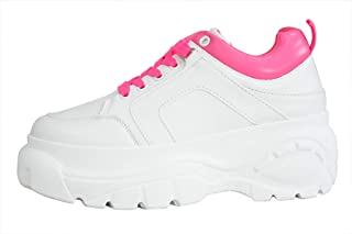 LUCKY-STEP Womens Chunky Sneakers - Athletic Sports Walking Shoes with Lace Up Platform Leather Trainers - Sports Wear