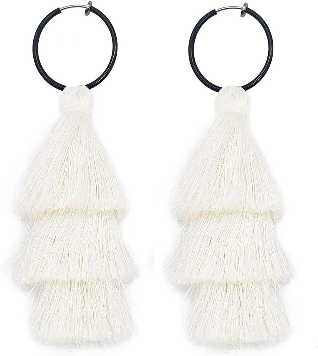 SELOVO Boho Tassel Clip on Spring Back Hoop Earrings No Pierced Dangle Earing